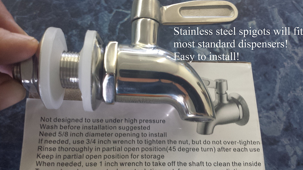 crock and stand, stainless steel spigot